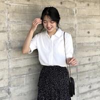 2018夏季新款韩国气质显瘦纯色翻领短袖雪纺衫女薄款衬衫上衣