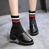 时尚女士高帮单鞋新款英伦风马丁靴女 韩版粗跟瘦瘦靴女弹力袜子靴短靴女