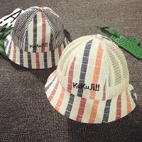 儿童渔夫帽春夏网眼透气男童盆帽女宝宝帽子1-2岁遮阳帽婴儿帽子