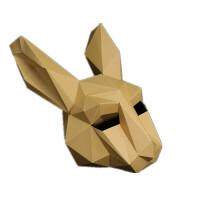 白兔头创意面具头套纸模材料包万圣诞派对年会整蛊搞怪摄影