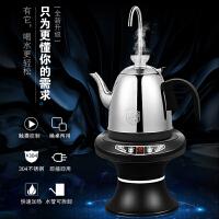不锈钢烧水壶加热款电动抽水器2件套装 矿泉水压水器饮水机桶装水自动上水器黑色