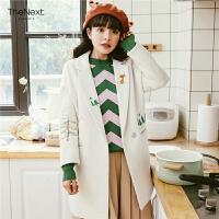 白色毛呢大衣女学生矮个子2019秋冬装新款森系韩版中长款呢子外套