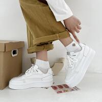 木林森女鞋新款圆头大头鞋百搭增高厚底松糕鞋板鞋小白鞋女