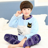 男童装男孩珊瑚绒小孩宝宝家居服套装秋冬季厚款法兰绒儿童睡衣