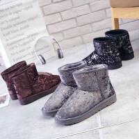 环球雪地靴女冬季2017新款棉鞋加绒保暖短靴韩版学生短筒女鞋