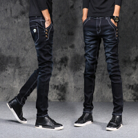 冬季牛仔裤男士青年小脚修身秋冬款韩版潮流弹力个性学生黑色长裤