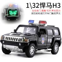 车模1:32悍马H3警车警灯警笛三开门合金回力汽车模型儿童玩具