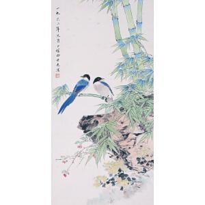 花鸟画家 田世光《竹林双鹊》