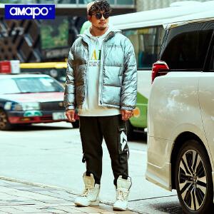 【限时抢购到手价:259元】AMAPO潮牌大码男装加肥加大码潮胖子肥佬外套冬季宽松连帽羽绒服