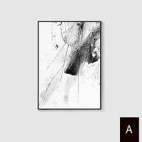 黑白灰抽象画装饰画简约现代三联客厅沙发背景墙画北欧极简风格挂画 H1179 A 画面 长方形:80*120cm 经典黑
