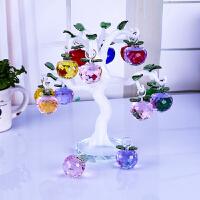 水晶苹果树摆件客厅电视酒柜招财摇钱树创意结婚礼物家居装饰品 12颗4cm苹果 白玉色弯杆