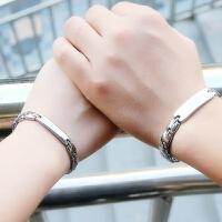 情侣手链一对可刻字男女学生银韩版简约文艺潮流个性手镯