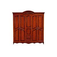 实木衣柜 美式橡胶木家具 美式乡村五门对开衣柜大储物卧室柜 富贵红 2150*615*2296mm