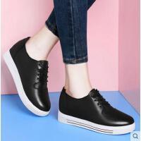 古奇天伦春季新款百搭韩版系带学生平底单鞋休闲鞋小白鞋内增高女鞋子GT03362