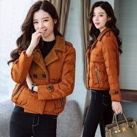 2017韩版新款原宿女装绒加厚棉衣服女士短款小棉袄外套冬 黑色 XL