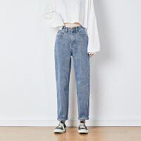 [直降]唐狮冬装新款高腰牛仔裤女直筒宽松设计感老爹裤显瘦高街风潮