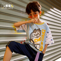 【2件3折:41.7元】男童装短袖T恤纯棉儿童半袖上衣2021年夏季新款中大童潮牌宽松薄