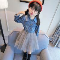 女童长袖连衣裙2018春装新款韩版时尚中小童牛仔拼接网纱外套裙子