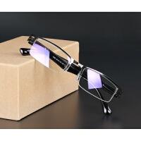 防蓝光眼镜辐射电脑镜男女商务金属框架抗疲劳超轻树脂半框平光镜 黑色 盒+绳+螺丝刀+布