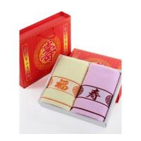 棉寿字毛巾礼盒双条装配手提袋过寿寿宴回礼品定制logo绣字 73x34cm