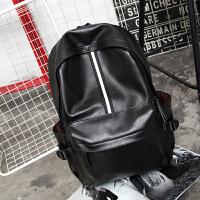 双肩包男学院风韩版女中学生书包休闲双肩男士背包时尚潮流电脑包 黑色