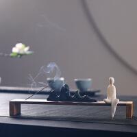 实木线香炉禅意香薰炉羊脂玉瓷线香插客厅居室茶道小摆件