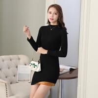 2017韩版紧身长袖百搭加绒加厚女毛衣秋冬针织衫打底衫中长款毛衣