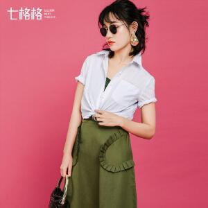 七格格2017夏新款文艺范儿细竖条纹短袖休闲短款衬衫女L516