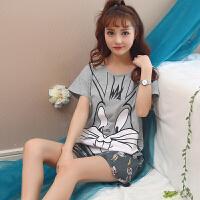 韩版少女睡衣女夏季套装短袖休闲可爱学生家居服两件套