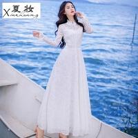 夏妆2018新款女装春装白色显瘦蕾丝连衣裙长袖收腰海边度假沙滩长裙仙 白色
