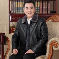 中老年男士加绒加厚皮衣冬季中年毛领皮夹克40-70岁爸爸装秋冬装