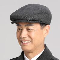 中老年人帽子男士秋冬天毛呢鸭舌帽冬季保暖护耳前进帽爸爸老头帽