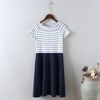 G8春装新款女条纹拼色连衣裙一字领名媛短袖中长款礼服裙0.35