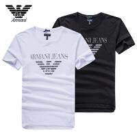 Armani阿玛尼 男士夏季短袖T恤 休闲圆领素版设计棉质透气清爽 V6H28两色