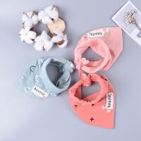 韩版超软三角巾纯棉双层造型口水巾新生宝宝儿童按扣围兜嘴巾三条
