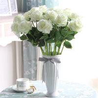 仿真花束玫瑰花套装客厅餐桌假花盆栽欧式摆设装饰花艺绢花卉摆件