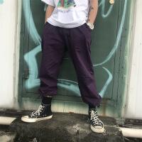 男工装裤多口袋直筒宽松休闲裤紫秋季ins超火的嘻哈阔腿长裤
