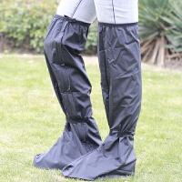 加长雨鞋套男女通用高筒高帮水泥风过膝加厚底电动车摩托 黑色
