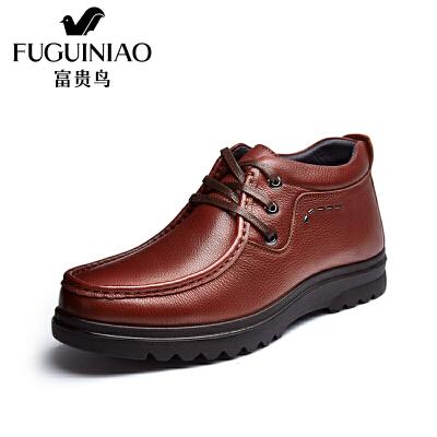 富贵鸟男鞋男士 新款冬季男鞋英伦系带商务休闲皮鞋子
