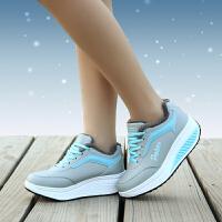 冬季女皮面旅游鞋摇摇鞋加绒运动鞋女厚底保暖跑步鞋女棉鞋YC-8373 灰月 40