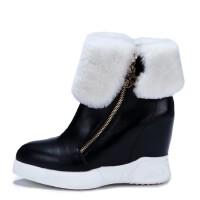 年冬季欧美坡跟防水台雪地靴圆头内增高保暖女靴