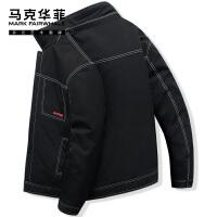马克华菲棉服男短款潮牌2021秋冬新款工装牛仔风棉衣冬季夹克外套