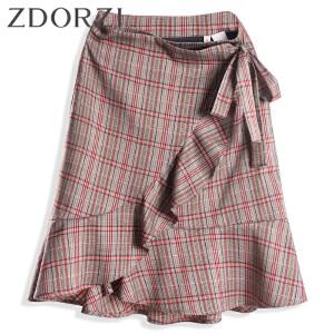 zdorzi卓多姿2018秋装新款不对称荷叶边系带格子半身裙女636E230