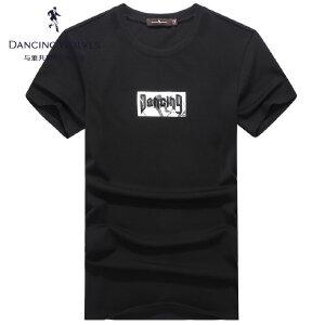 与狼共舞短袖T恤 2017夏季新款男士字母印花上衣青年男6017
