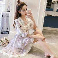 18新款春装女装短款c碎花雪纺小个子连衣裙夏季小清新裙子