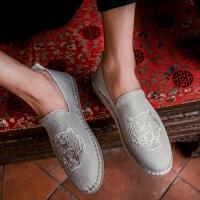夏季潮鞋男士帆布鞋休闲懒人一脚蹬男鞋子中国风布鞋亚麻鞋
