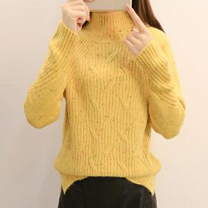 女士半高领毛衣春装女新款短款韩版宽松加厚毛线衣服套头长袖时尚