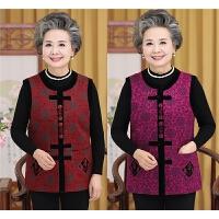中老年人秋冬装女装唐装棉马甲奶奶装背心老人衣服60-70-80岁妈妈