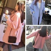 韩观2017秋冬女装新款修身呢子大衣韩版西装领中长款纯色毛呢外套女潮 均码