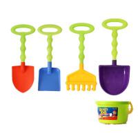 沙滩铲子玩具套装大号小号儿童幼儿园玩沙挖沙工具玩雪铲子2-8岁 波浪杆尖平勺耙送小桶-色随机